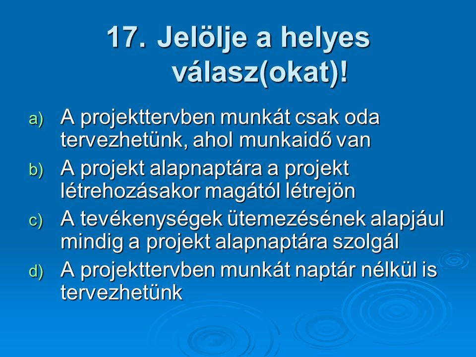 17. Jelölje a helyes válasz(okat)! a) A projekttervben munkát csak oda tervezhetünk, ahol munkaidő van b) A projekt alapnaptára a projekt létrehozásak