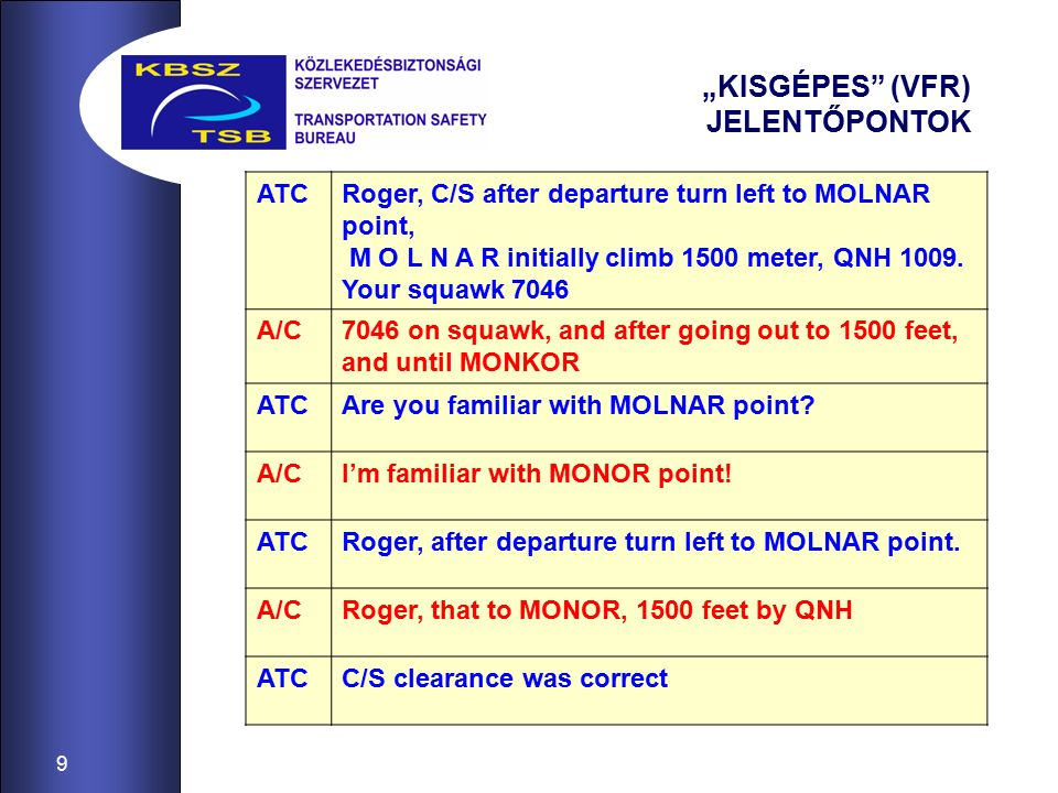 """10 """"KISGÉPES (VFR) JELENTŐPONTOK ATCC/S I confirm cleared for take off, 31L wind 300 degrees 23 knots A/CTake off 31L C/S direct 1500 feet direct to MONOR ATCCorrect A/CC/S climbing up to 1500 feet turning left direct to MONOR ATCRoger, report over MOLNAR A/CReporting to MONOR C/S ATCC/S clearance was correct -------------------------------------------------- A/CWe are on MONOR, and ready for navigation towards Linz ATCC/S you are over MONOR."""