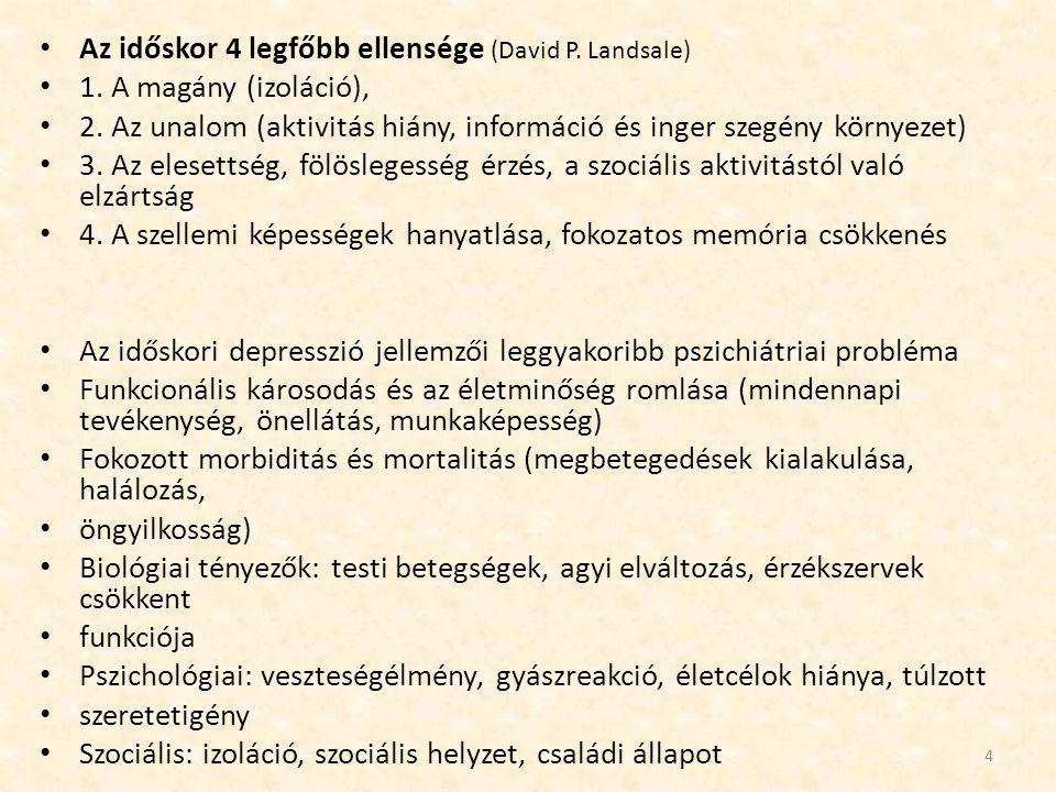 Az időskor 4 legfőbb ellensége (David P. Landsale) 1. A magány (izoláció), 2. Az unalom (aktivitás hiány, információ és inger szegény környezet) 3. Az