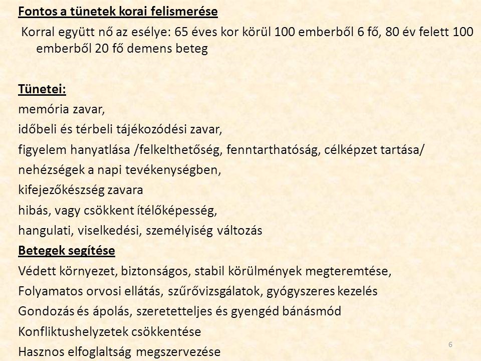 Fontos a tünetek korai felismerése Korral együtt nő az esélye: 65 éves kor körül 100 emberből 6 fő, 80 év felett 100 emberből 20 fő demens beteg Tünet