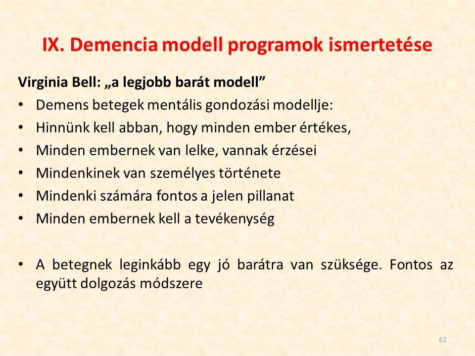 """IX. Demencia modell programok ismertetése Virginia Bell: """"a legjobb barát modell"""" Demens betegek mentális gondozási modellje: Hinnünk kell abban, hogy"""