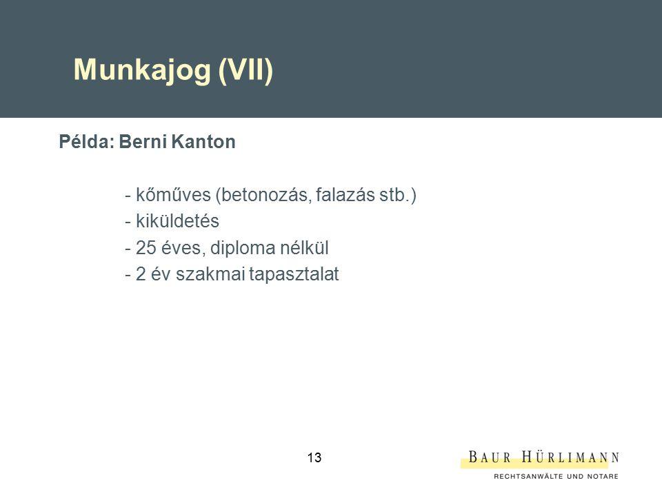 13 Munkajog (VII) Példa: Berni Kanton - kőműves (betonozás, falazás stb.) - kiküldetés - 25 éves, diploma nélkül - 2 év szakmai tapasztalat