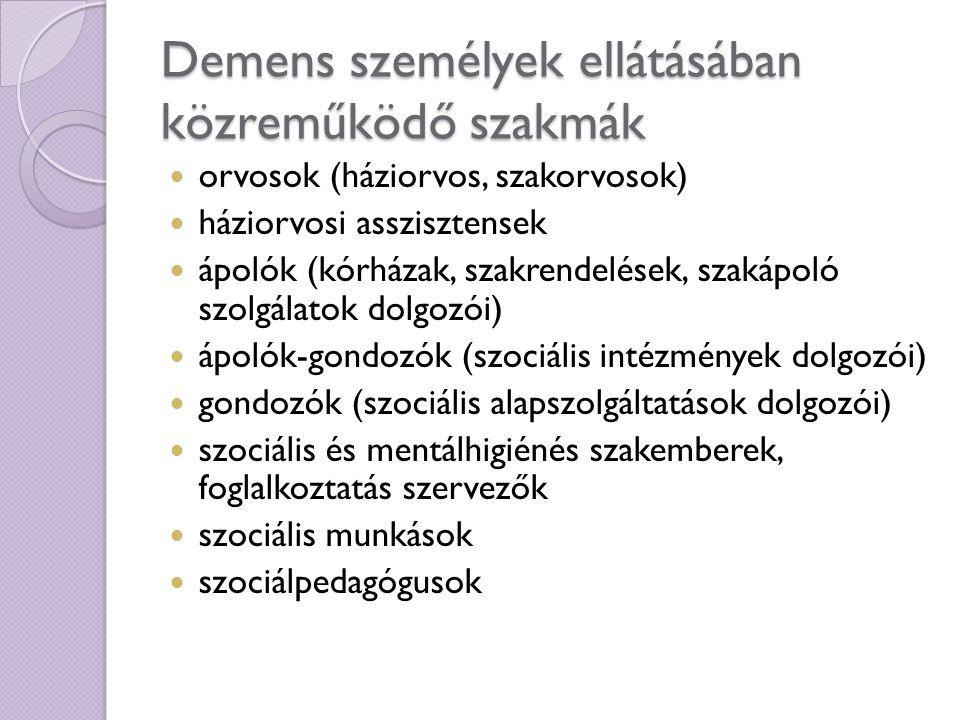 Demens személyek ellátásában közreműködő szakmák orvosok (háziorvos, szakorvosok) háziorvosi asszisztensek ápolók (kórházak, szakrendelések, szakápoló