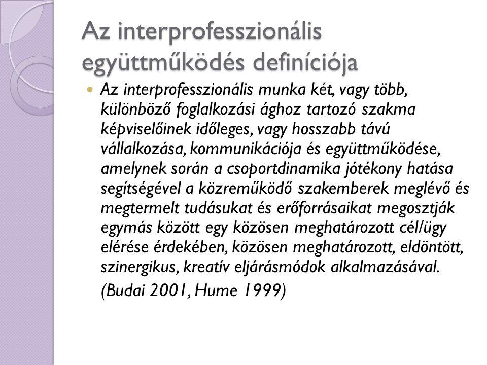 Interprofesszionalitás A szó jelentése: inter + professzionalitás = szakmaköziség – különböző szakmák képviselői interdiszciplinaritás vs.