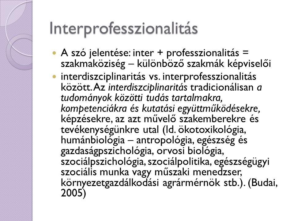 Interprofesszionalitás A szó jelentése: inter + professzionalitás = szakmaköziség – különböző szakmák képviselői interdiszciplinaritás vs. interprofes