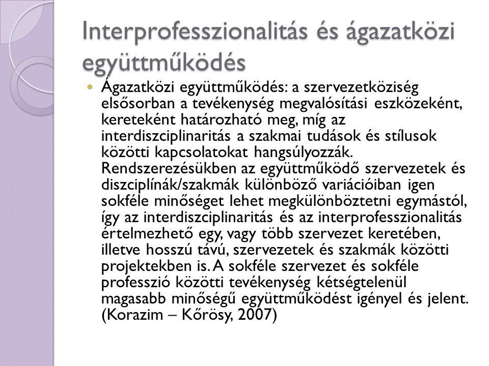 Interprofesszionalitás és ágazatközi együttműködés Ágazatközi együttműködés: a szervezetköziség elsősorban a tevékenység megvalósítási eszközeként, ke
