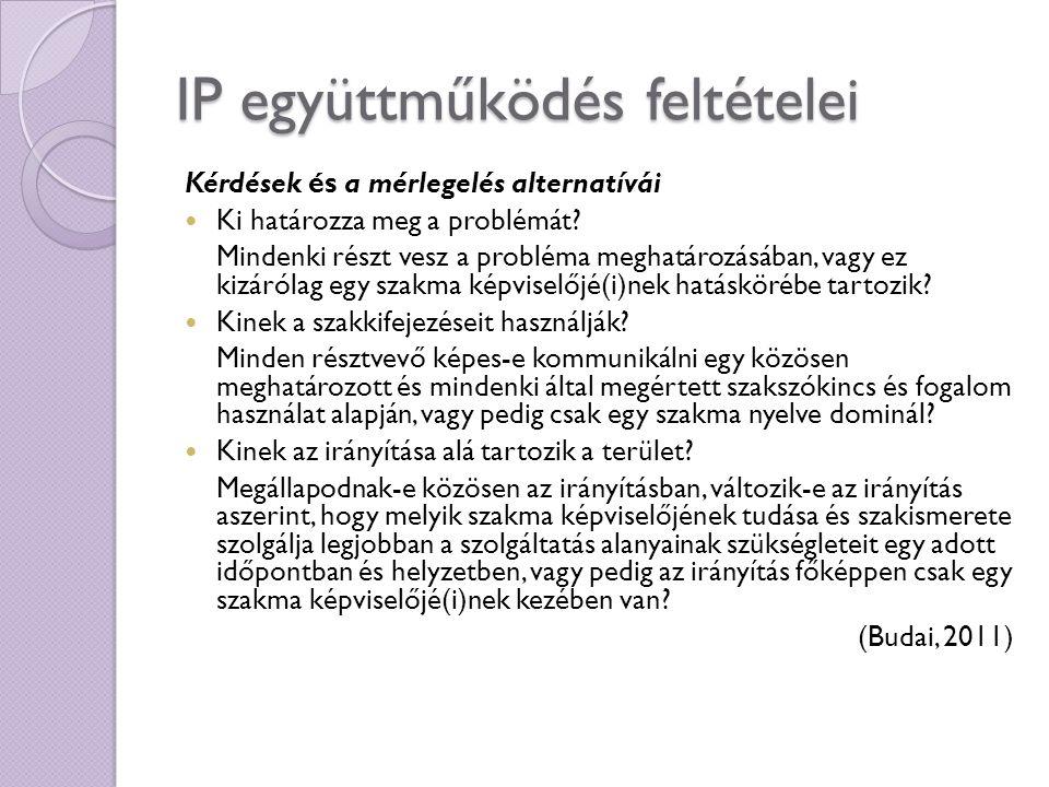 IP együttműködés feltételei Kérdések és a mérlegelés alternatívái Ki határozza meg a problémát? Mindenki részt vesz a probléma meghatározásában, vagy
