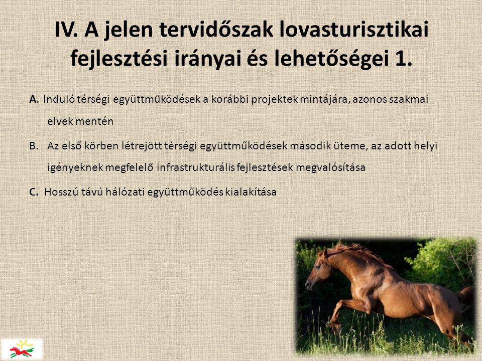 IV.A jelen tervidőszak lovasturisztikai fejlesztési irányai és lehetőségei 1.