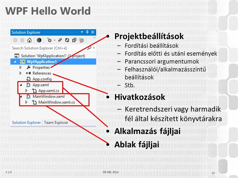 V 1.0ÓE-NIK, 2014 WPF Hello World Projektbeállítások –Fordítási beállítások –Fordítás előtti és utáni események –Parancssori argumentumok –Felhasználói/alkalmazásszintű beállítások –Stb.