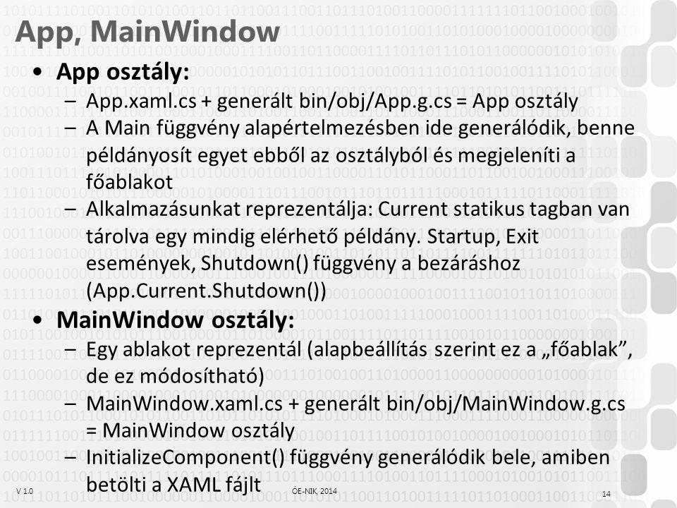V 1.0ÓE-NIK, 2014 App, MainWindow App osztály: –App.xaml.cs + generált bin/obj/App.g.cs = App osztály –A Main függvény alapértelmezésben ide generálódik, benne példányosít egyet ebből az osztályból és megjeleníti a főablakot –Alkalmazásunkat reprezentálja: Current statikus tagban van tárolva egy mindig elérhető példány.