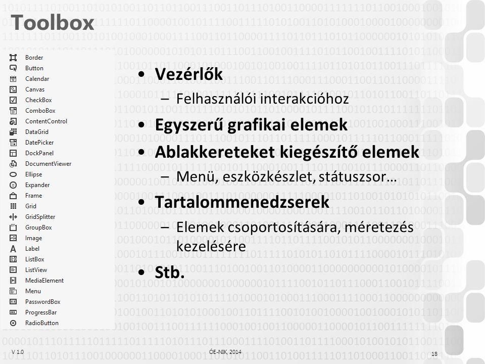 V 1.0ÓE-NIK, 2014 Toolbox Vezérlők –Felhasználói interakcióhoz Egyszerű grafikai elemek Ablakkereteket kiegészítő elemek –Menü, eszközkészlet, státuszsor… Tartalommenedzserek –Elemek csoportosítására, méretezés kezelésére Stb.