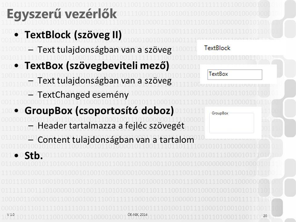 V 1.0ÓE-NIK, 2014 Egyszerű vezérlők TextBlock (szöveg II) –Text tulajdonságban van a szöveg TextBox (szövegbeviteli mező) –Text tulajdonságban van a szöveg –TextChanged esemény GroupBox (csoportosító doboz) –Header tartalmazza a fejléc szövegét –Content tulajdonságban van a tartalom Stb.