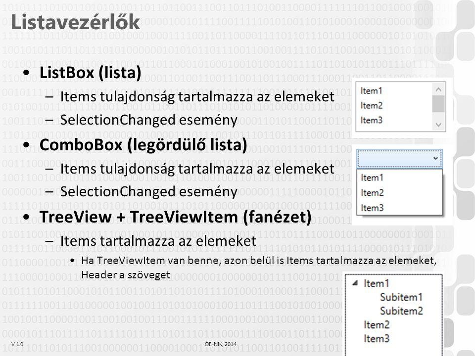 V 1.0ÓE-NIK, 2014 Listavezérlők ListBox (lista) –Items tulajdonság tartalmazza az elemeket –SelectionChanged esemény ComboBox (legördülő lista) –Items tulajdonság tartalmazza az elemeket –SelectionChanged esemény TreeView + TreeViewItem (fanézet) –Items tartalmazza az elemeket Ha TreeViewItem van benne, azon belül is Items tartalmazza az elemeket, Header a szöveget 21