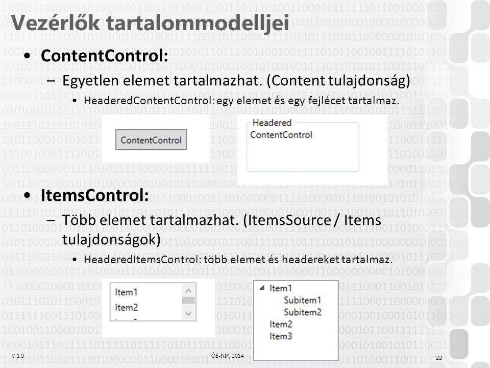V 1.0ÓE-NIK, 2014 Vezérlők tartalommodelljei ContentControl: –Egyetlen elemet tartalmazhat.