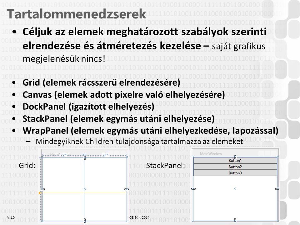 V 1.0ÓE-NIK, 2014 Tartalommenedzserek Céljuk az elemek meghatározott szabályok szerinti elrendezése és átméretezés kezelése – saját grafikus megjelenésük nincs.
