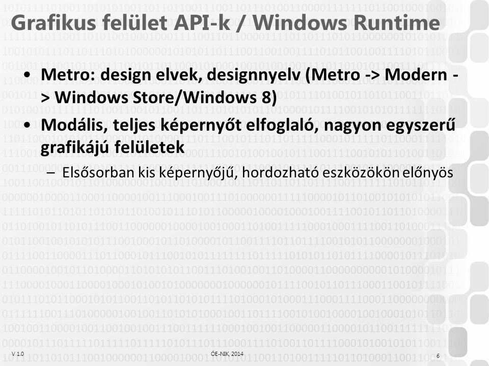V 1.0ÓE-NIK, 2014 Grafikus felület API-k / Windows Runtime Metro: design elvek, designnyelv (Metro -> Modern - > Windows Store/Windows 8) Modális, teljes képernyőt elfoglaló, nagyon egyszerű grafikájú felületek –Elsősorban kis képernyőjű, hordozható eszközökön előnyös 6