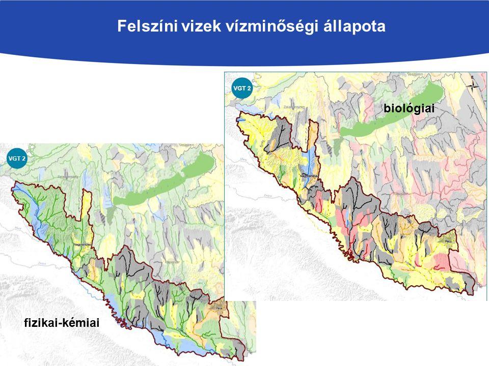 Felszíni vizek vízminőségi állapota fizikai-kémiai biológiai