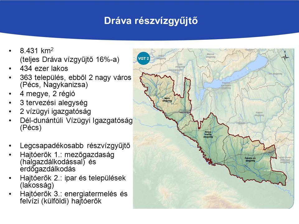 Dráva részvízgyűjtő 8.431 km 2 (teljes Dráva vízgyűjtő 16%-a) 434 ezer lakos 363 település, ebből 2 nagy város (Pécs, Nagykanizsa) 4 megye, 2 régió 3 tervezési alegység 2 vízügyi igazgatóság Dél-dunántúli Vízügyi Igazgatóság (Pécs) Legcsapadékosabb részvízgyűjtő Hajtóerők 1.: mezőgazdaság (halgazdálkodással) és erdőgazdálkodás Hajtóerők 2.: ipar és települések (lakosság) Hajtóerők 3.: energiatermelés és felvízi (külföldi) hajtóerők