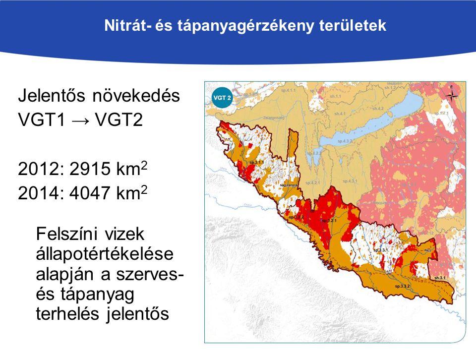 Nitrát- és tápanyagérzékeny területek Jelentős növekedés VGT1 → VGT2 2012: 2915 km 2 2014: 4047 km 2 Felszíni vizek állapotértékelése alapján a szerves- és tápanyag terhelés jelentős