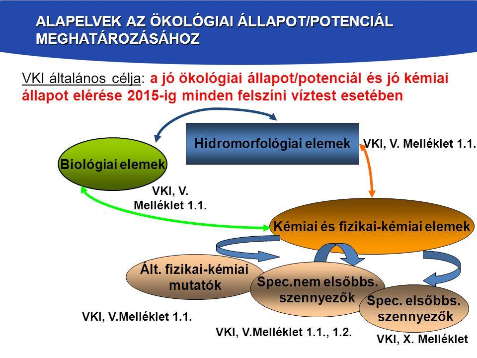 A FIZIKAI-KÉMIAI MINŐSÍTÉS HELYE A VKI-BAN ÉS MÓDSZERE Ökológiai állapot támogató elemei Minősítés öt osztályos skálán, a víztípusra jellemző referencia állapothoz viszonyítva, négy elemcsoportra történik: oxigén háztartás jellemzői és szerves terhelés, növényi tápanyagok, sótartalom és savasodási állapot, átlátszóság (állóvizek) hőmérsékleti viszonyok (csak hőterhelésre) Természetes (antropogén hatás mentes) háttérkoncentrációtól való eltérés mértéke utal a szennyezőanyag terhelésre.