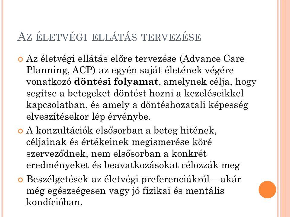 A Z ÉLETVÉGI ELLÁTÁS TERVEZÉSE Az életvégi ellátás előre tervezése (Advance Care Planning, ACP) az egyén saját életének végére vonatkozó döntési folya