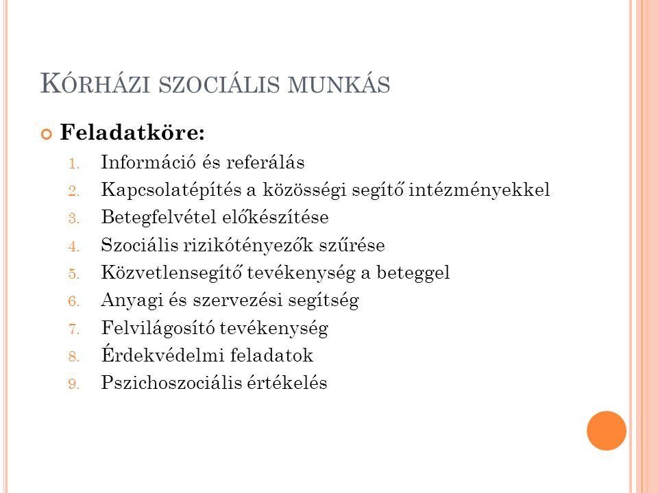 K ÓRHÁZI SZOCIÁLIS MUNKÁS Feladatköre: 1. Információ és referálás 2. Kapcsolatépítés a közösségi segítő intézményekkel 3. Betegfelvétel előkészítése 4