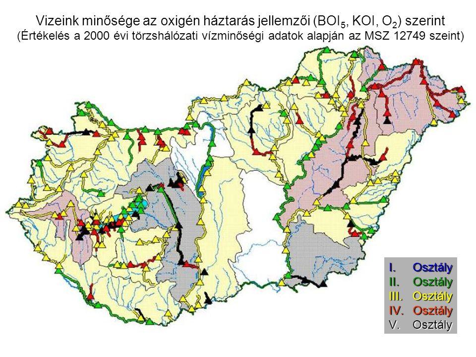 Vizeink minősége az oxigén háztarás jellemzői (BOI 5, KOI, O 2 ) szerint (Értékelés a 2000 évi törzshálózati vízminőségi adatok alapján az MSZ 12749 szeint) I.Osztály II.Osztály III.Osztály IV.Osztály V.Osztály