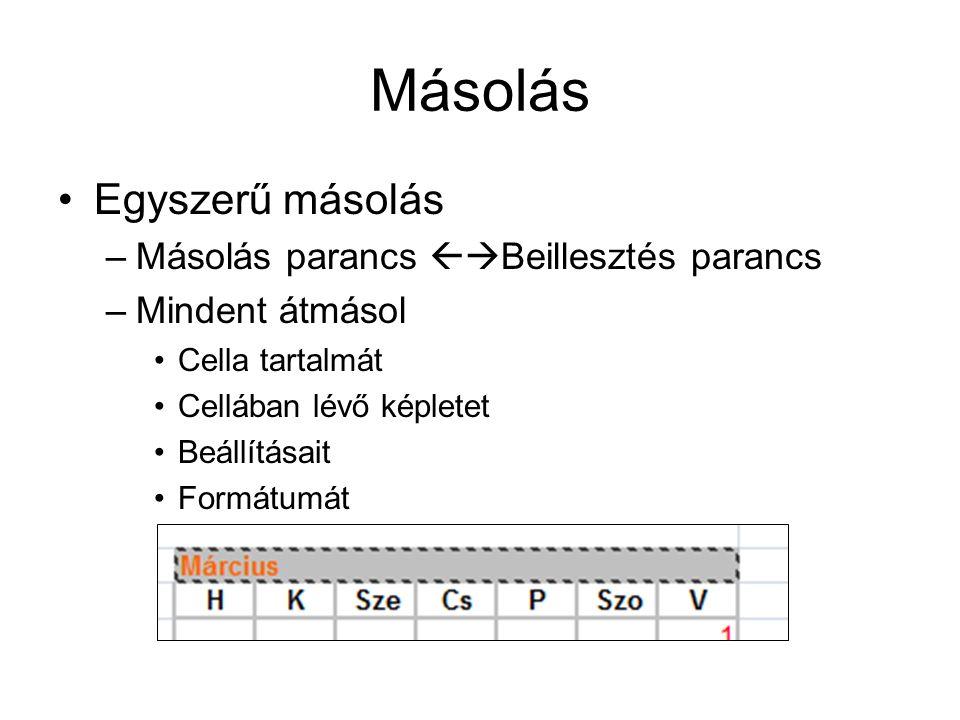 Másolás Egyszerű másolás –Másolás parancs  Beillesztés parancs –Mindent átmásol Cella tartalmát Cellában lévő képletet Beállításait Formátumát