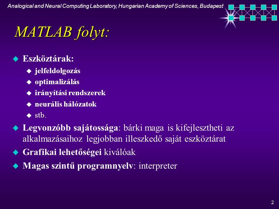 Analogical and Neural Computing Laboratory, Hungarian Academy of Sciences, Budapest 3 MATLAB rendszer u Fejlesztői környezet (Development Environment) - grafikai felhasználói interfész u MATLAB matematikai függvény könyvtár (The MATLAB Mathematical Function Library) - sin, cos,..., mátrix inverze, FFT u MATLAB magasszintű programozási nyelv (The MATLAB Language), melynek adattípusa tömb (index kezdőértéke mindig 1) u Handle Graphics - grafikai rendszer (2-D, 3-D adatábrázoló utasítások, képfeldolgozás, animáció + grafikus felhasználói interfész fejlesztése) u The MATLAB Application Program Interface (API) - könyvtár, mely lehetővé teszi olyan C és FORTRAN programok írását, melyek a MATLAB-al kommunikálnak (pl.