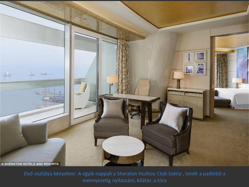 Első osztályú kényelem: A egyik nappali a Sheraton Huzhou Club Széria, ismét a padlótól a mennyezetig nyílászáró, kilátás a tóra