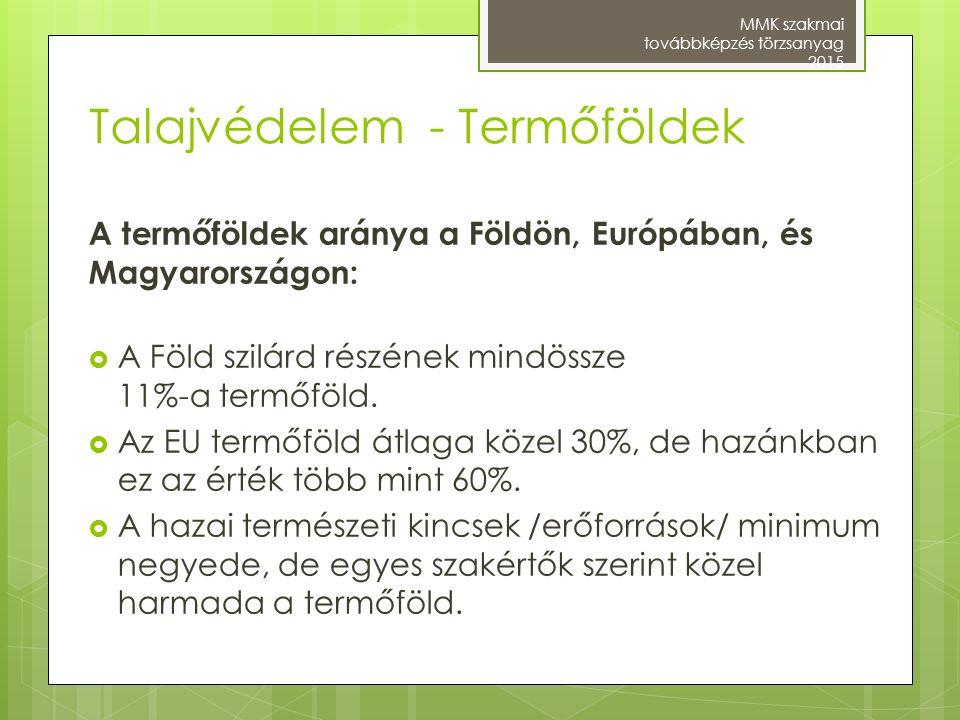 Talajvédelem - Termőföldek A termőföldek aránya a Földön, Európában, és Magyarországon:  A Föld szilárd részének mindössze 11%-a termőföld.  Az EU t
