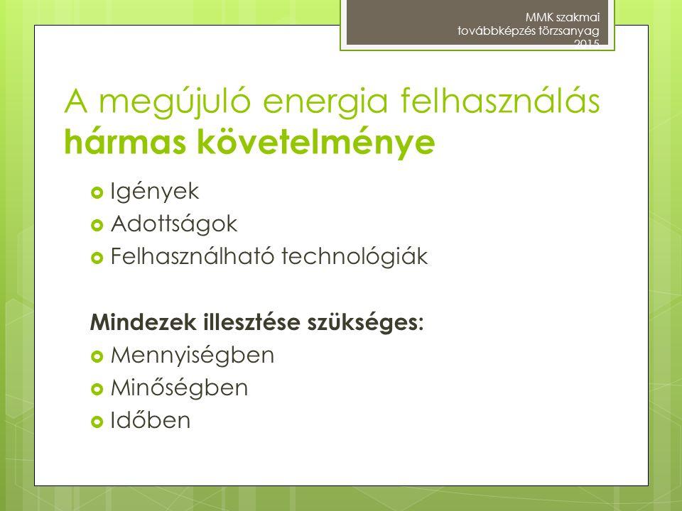 A megújuló energia felhasználás hármas követelménye  Igények  Adottságok  Felhasználható technológiák Mindezek illesztése szükséges:  Mennyiségben
