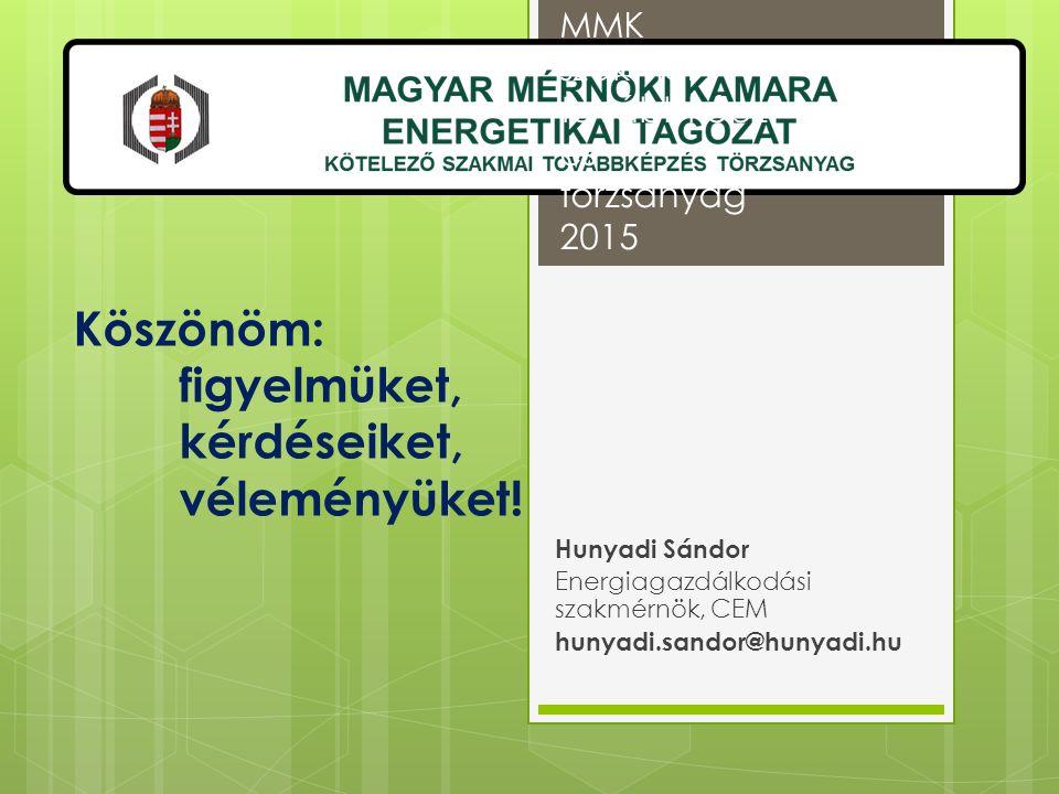 Köszönöm: figyelmüket, kérdéseiket, véleményüket! Hunyadi Sándor Energiagazdálkodási szakmérnök, CEM hunyadi.sandor@hunyadi.hu MMK szakmai továbbképz