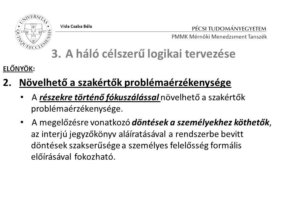 3.A háló célszerű logikai tervezése ELŐNYÖK: 2.Növelhető a szakértők problémaérzékenysége A részekre történő fókuszálással növelhető a szakértők probl