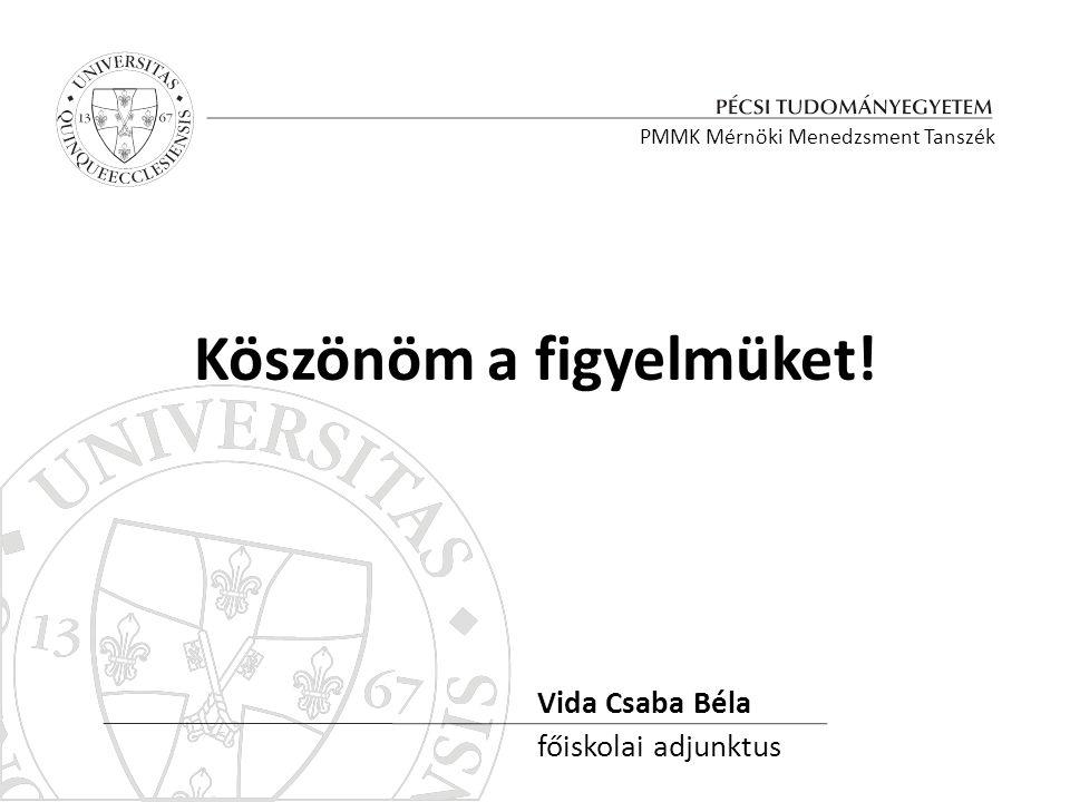 Köszönöm a figyelmüket! Vida Csaba Béla főiskolai adjunktus PMMK Mérnöki Menedzsment Tanszék