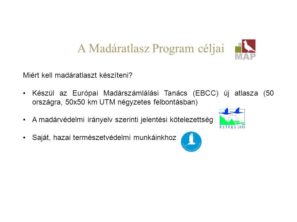 Miért kell madáratlaszt készíteni? Készül az Európai Madárszámlálási Tanács (EBCC) új atlasza (50 országra, 50x50 km UTM négyzetes felbontásban) A mad