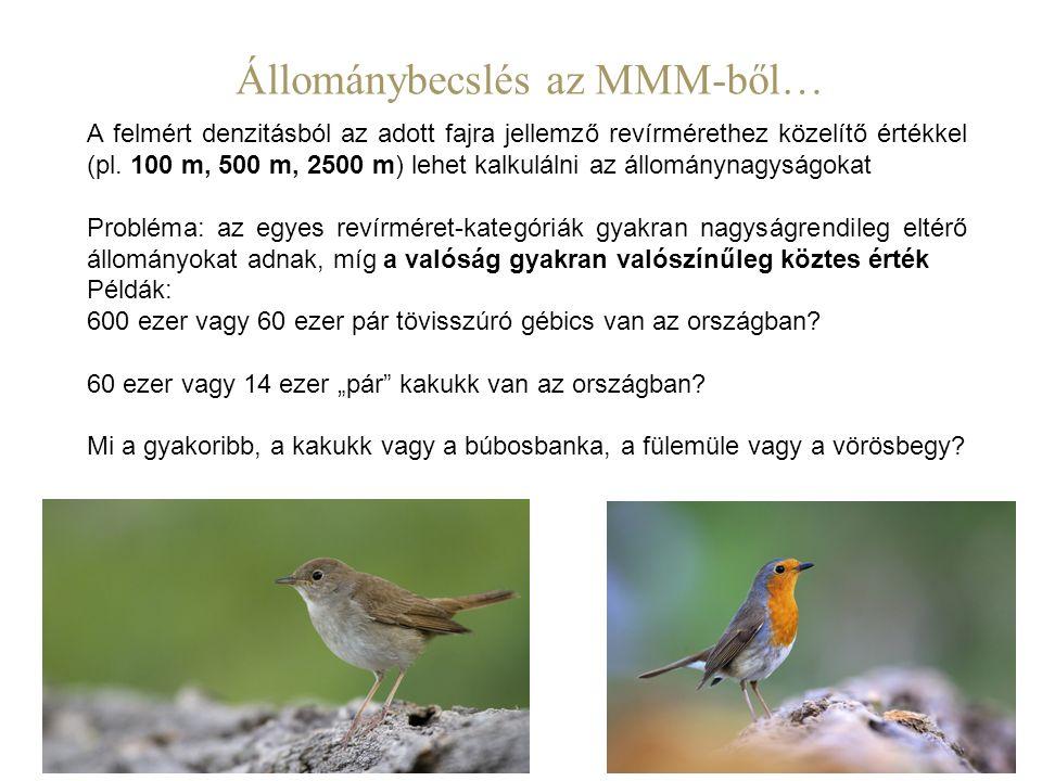 A felmért denzitásból az adott fajra jellemző revírmérethez közelítő értékkel (pl. 100 m, 500 m, 2500 m) lehet kalkulálni az állománynagyságokat Probl