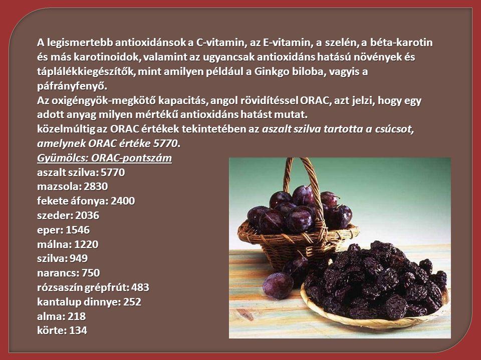 A legismertebb antioxidánsok a C-vitamin, az E-vitamin, a szelén, a béta-karotin és más karotinoidok, valamint az ugyancsak antioxidáns hatású növénye