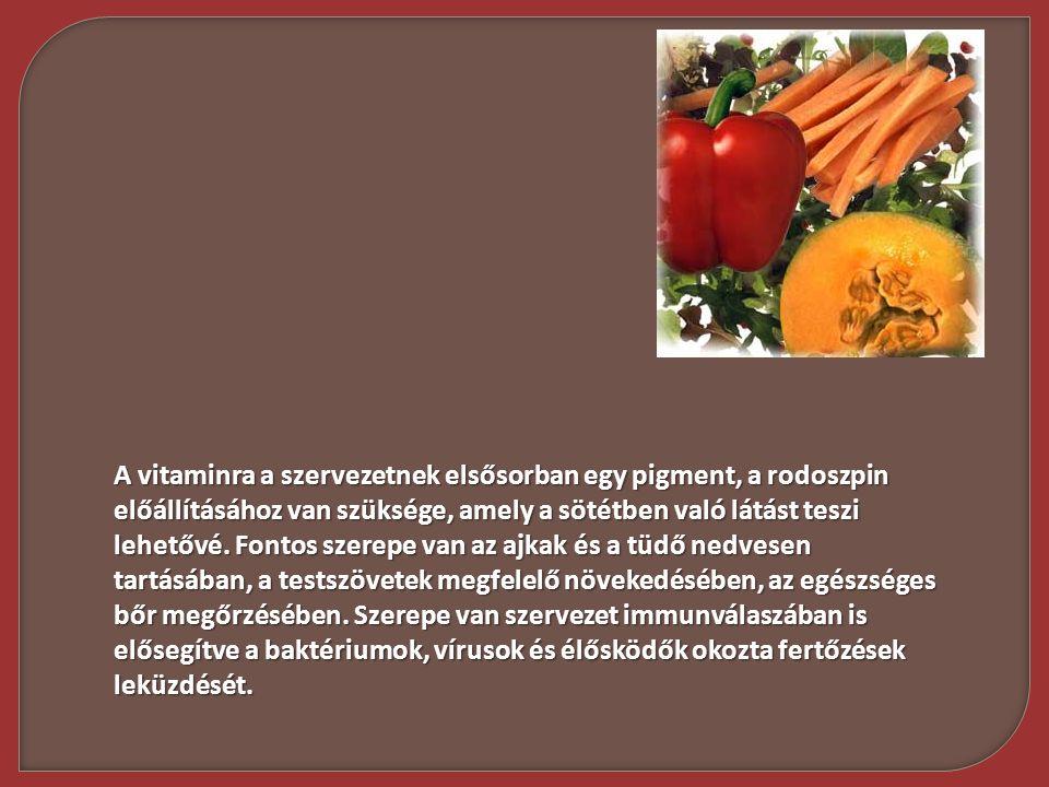 A vitaminra a szervezetnek elsősorban egy pigment, a rodoszpin előállításához van szüksége, amely a sötétben való látást teszi lehetővé. Fontos szerep
