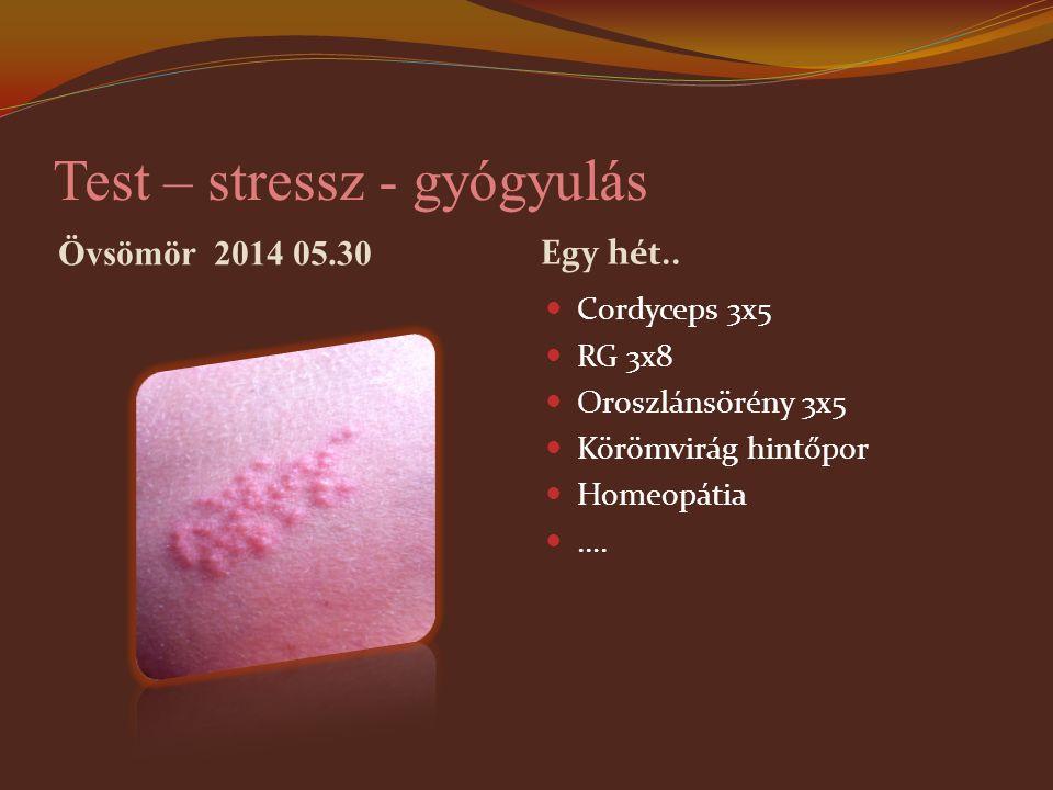 Test – stressz - gyógyulás Övsömör 2014 05.30 Egy hét.. Cordyceps 3x5 RG 3x8 Oroszlánsörény 3x5 Körömvirág hintőpor Homeopátia ….