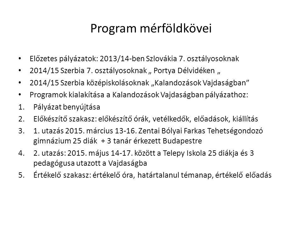 Program mérföldkövei Előzetes pályázatok: 2013/14-ben Szlovákia 7.