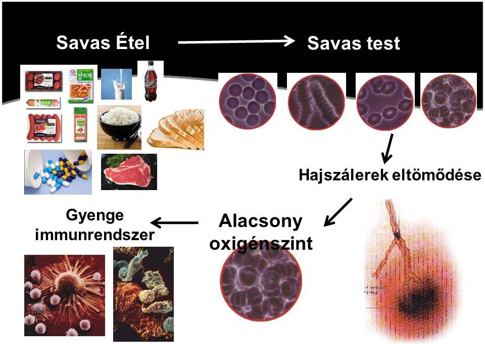 Savas Étel Savas test Hajszálerek eltömődése Alacsony oxigénszint Gyenge immunrendszer