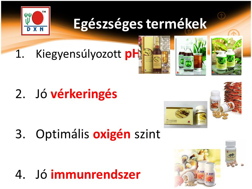 Egészséges termékek 1.Kiegyensúlyozott pH 2.Jó vérkeringés 3.Optimális oxigén szint 4.Jó immunrendszer