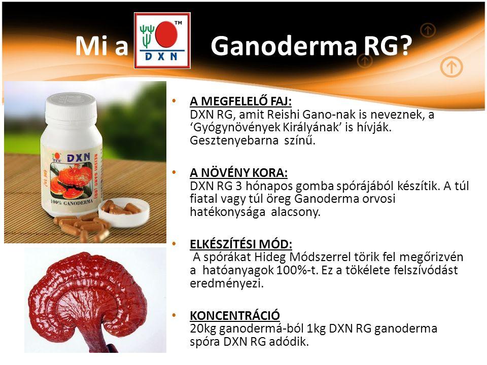 A MEGFELELŐ FAJ: DXN RG, amit Reishi Gano-nak is neveznek, a 'Gyógynövények Királyának' is hívják. Gesztenyebarna színű. A NÖVÉNY KORA: DXN RG 3 hónap