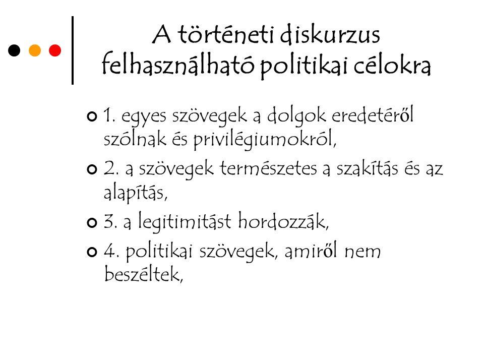 A történeti diskurzus felhasználható politikai célokra 1.
