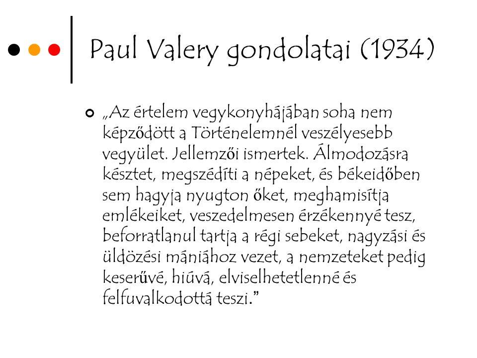 """Paul Valery gondolatai (1934) """"Az értelem vegykonyhájában soha nem képz ő dött a Történelemnél veszélyesebb vegyület."""