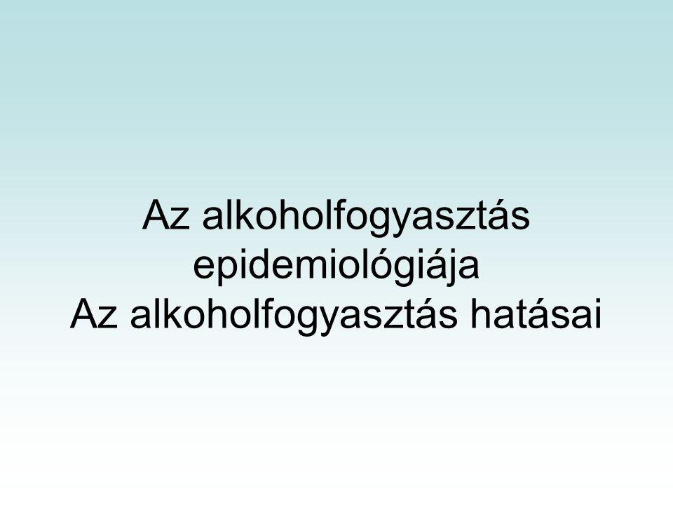"""Az alkoholfogyasztás kategóriái Az alkohol-fogyasztók szociális mintája a WHO szerint: absztinensek: nem fogyasztanak alkoholos italokat, szociális ivók: főleg társaságban isznak, az ivás célja nem a részegség, bár időnként ez is előfordulhat, nagyivók: rendszeresen és sokat isznak, gyakran lerészegednek, közéjük tartoznak a """"probléma-ivók , akik nem rendszeresen, de önkontroll nélkül isznak, hogy a gondjaiktól megszabaduljanak (ezek az emberek gyakran válnak alkoholbeteggé), alkoholbetegek: függetlenül a rendszeresen fogyasztott alkohol mennyiségétől, alkohol dependencia alakul ki, és a betegek tevékenysége illetve gondolatai az alkohol megszerzése körül forognak, kezelésük esetén szabályos elvonási tünetek alakulnak ki, ami mindenképpen orvosi ellátást igényel."""