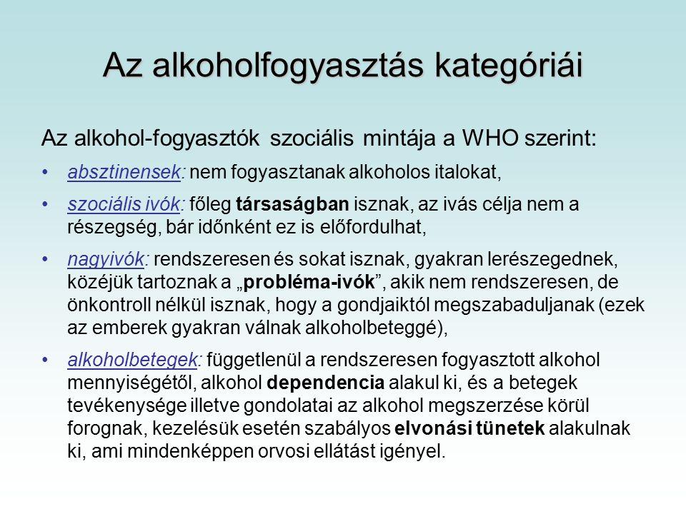 Az alkohol akut egészségkárosító hatásai Részegség Könnyű alkoholos kábulat – 0.3-1.5 ‰ véralkohol szint : –gátlások felszabadulása, tettvágy, jókedv, ellazulás, éntudat kibővülése, libidó növekedés (de teljesítőképesség csökken), teljesítménycsökkenés ellenére fokozott teljesítőképesség érzése, kapcsolatteremtési hajlam, egyénfüggő mértékben nyitottság, agresszivitás.