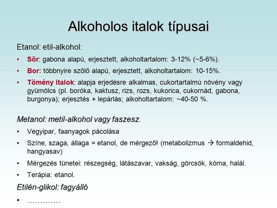 Alkoholos italok típusai Etanol: etil-alkohol: SörSör: gabona alapú, erjesztett, alkoholtartalom: 3-12% (~5-6%).