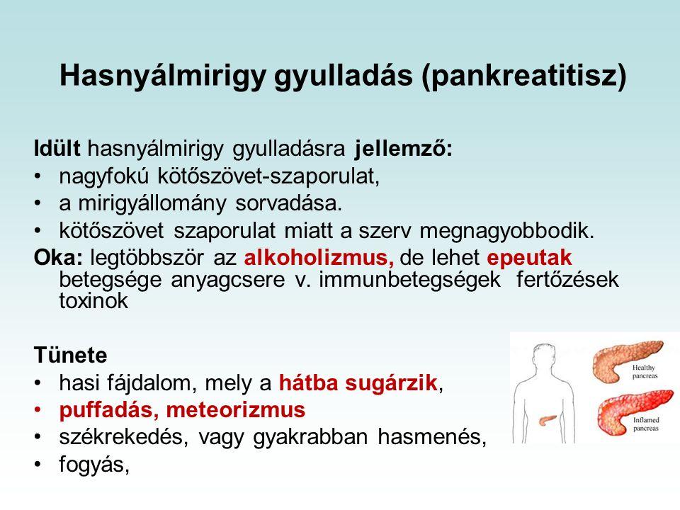 Hasnyálmirigy gyulladás (pankreatitisz) Idült hasnyálmirigy gyulladásra jellemző: nagyfokú kötőszövet-szaporulat, a mirigyállomány sorvadása.
